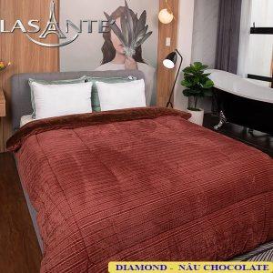 Chăn Lông Cừu Lasante – Diamond Nâu Chocolate